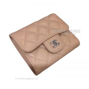 Chanel Classic Small Wallet In Apricot Lambskin With Shiny Silver HW