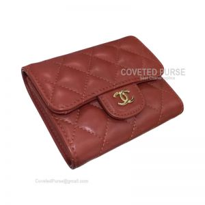 Chanel Classic Small Wallet In Bordeaux Lambskin With Shiny Gold HW