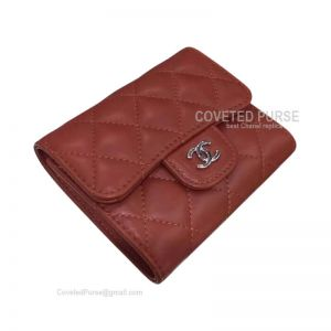 Chanel Classic Small Wallet In Bordeaux Lambskin With Shiny Silver HW