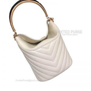 Chanel Bucket Bag Mini In White Lambskin With Gold HW