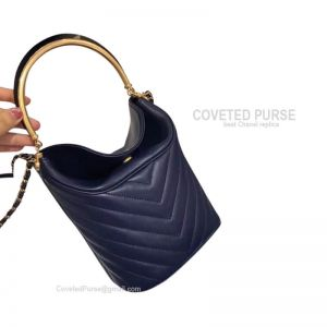 Chanel Bucket Bag Mini In Navy Blue Lambskin With Gold HW