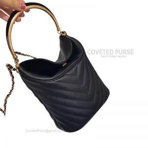 Chanel Bucket Bag Mini In Black Lambskin With Gold HW