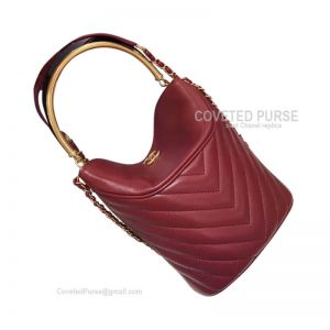Chanel Bucket Bag Mini In Wine Lambskin With Gold HW