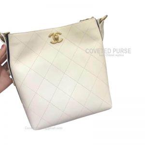 Chanel Hobo Handbag Mini In White Calfskin With Gold HW
