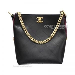 Chanel Hobo Handbag Mini In Black And Red Calfskin With Gold HW