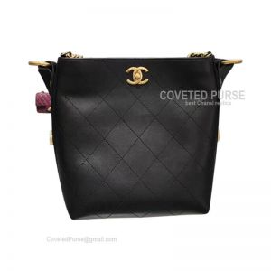 Chanel Hobo Handbag Mini In Black Calfskin With Gold HW