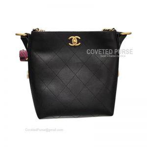 Chanel Hobo Handbag Mini In Black Calfskin With Gold HW