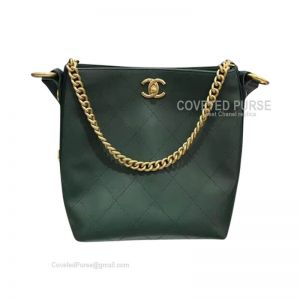 Chanel Hobo Handbag Mini In Green Calfskin With Gold HW