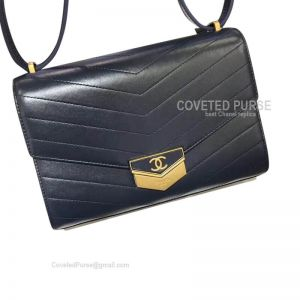 Chanel Clutch In Sapphire Calfskin With Shiny Gold HW
