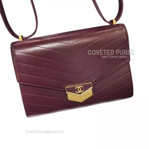 Chanel Clutch In Wine Calfskin With Shiny Gold HW