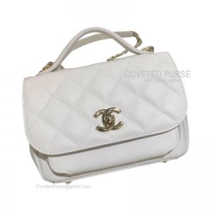 Chanel Messenger Flap Bag Small In White Caviar With Shiny Gold HW