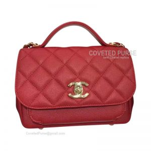 Chanel Messenger Flap Bag Small In Red Caviar With Shiny Gold HW