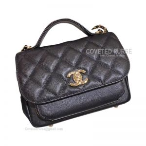 Chanel Messenger Flap Bag Small In Black Caviar With Shiny Gold HW