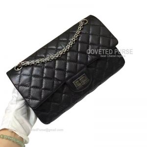 Chanel Medium Reissue Black Crumpled Calfskin With Silver HW