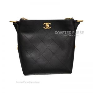 Chanel Hobo Handbag In Black Calfskin With Gold HW