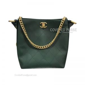 Chanel Hobo Handbag In Green Calfskin With Gold HW