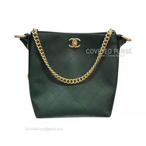 Chanel Hobo Handbag In Green Calfskin With Gold HW