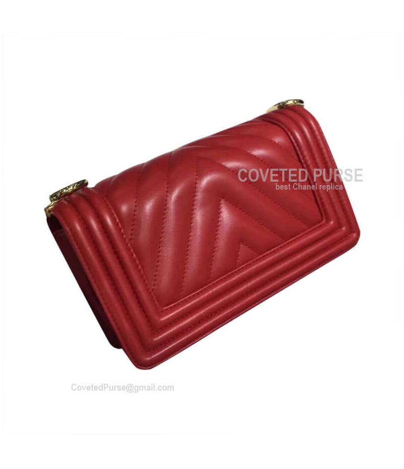 Chanel Boy Bag Small In Red Lambskin Chevron With Shiny Gold HW